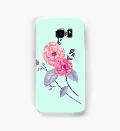 Rose, Soft Peach on Mint Samsung Galaxy Case/Skin