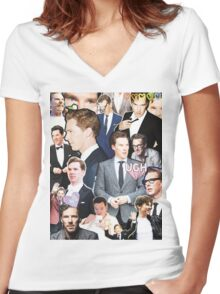 benedict cumberbatch collage Women's Fitted V-Neck T-Shirt