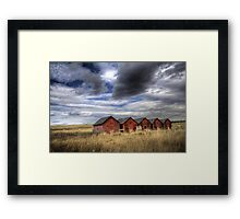 Five Red Barns Framed Print