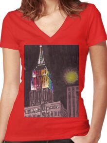 empire state pride Women's Fitted V-Neck T-Shirt