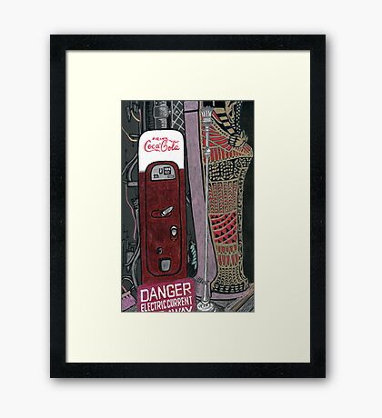 mummy case and coke machine Framed Print