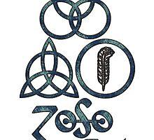 ANCIENT PAGAN ELEMENTS SYMBOLS (L) - blue grunge by LadyEvil