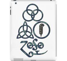 ANCIENT PAGAN ELEMENTS SYMBOLS (L) - blue grunge iPad Case/Skin