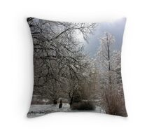 glimmering trees on a winter afternoon Throw Pillow