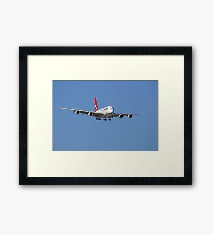Qantas A380 On Approach  Framed Print