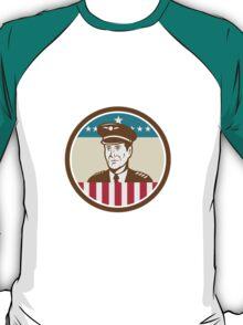 Airline Pilot Aviator USA Flag Circle Retro T-Shirt