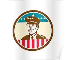 Airline Pilot Aviator USA Flag Circle Retro Poster