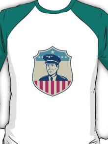 American Airline Pilot Aviator USA Flag Shield Retro T-Shirt