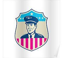 American Airline Pilot Aviator USA Flag Shield Retro Poster