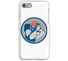 American Football Player Fend Off Circle Retro iPhone Case/Skin