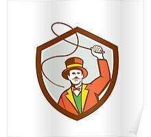 Circus Ring Master Bullwhip Shield Retro Poster