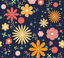 flower meadow. navy blue by o-ta