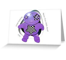 Oki Purple Robot - Never Fear Oki's Here! Greeting Card