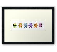Six Little Robots in a Row Framed Print
