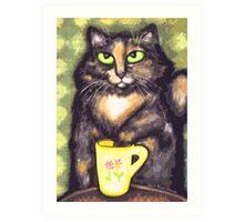 Tea Loving Tortie Cat Art Print