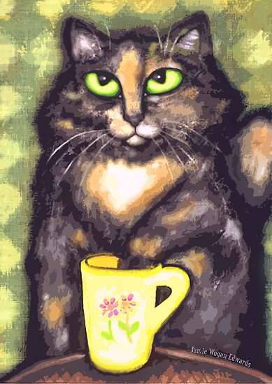 Tea Loving Tortie Cat by Jamie Wogan Edwards