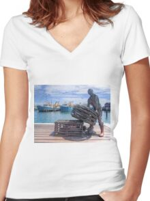 Fishing Harbour Fremantle WA - HDR Women's Fitted V-Neck T-Shirt