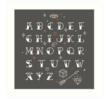Homemade tattoo's alphabet Art Print