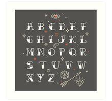 Homemade tattoo's alphabet Art Print