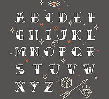 Homemade tattoo's alphabet by motuwe