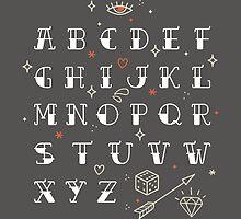 Homemade tattoo's alphabet by motuwe