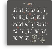 Homemade tattoo's alphabet Canvas Print