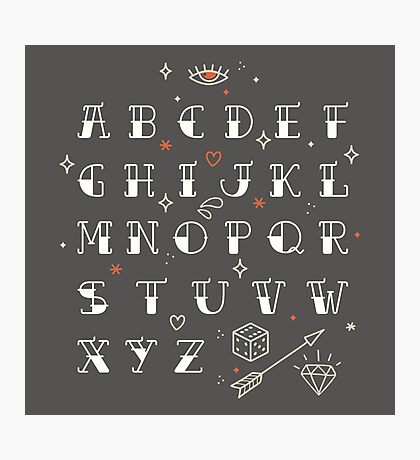 Homemade tattoos alphabet Photographic Print