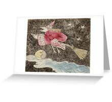 Witching Moon (black version) Greeting Card