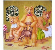 Goldilocks & the Three Bears - story book cover (w/c on c/pressed Illust bd) by Rory Stapleton
