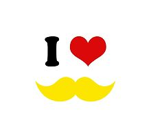I Heart I Love Yellow Blond Mustaches by TigerLynx