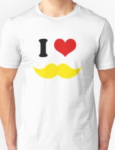 I Heart I Love Yellow Blond Mustaches T-Shirt