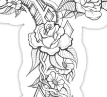 Rose and Flower Tattoo Cross Sticker