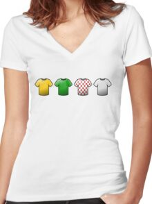 tour de france jerseys Icons Women's Fitted V-Neck T-Shirt