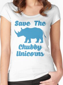 SAVE THE CHUBBY UNICORNS Women's Fitted Scoop T-Shirt