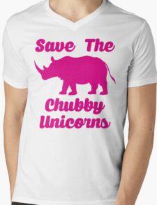 SAVE THE CHUBBY UNICORNS Mens V-Neck T-Shirt