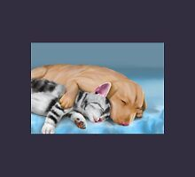 Grey Cat and Brown Dog Sleeping and Hugging Unisex T-Shirt