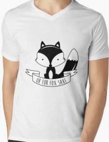 Oh For Fox Sake - Black And White Mens V-Neck T-Shirt