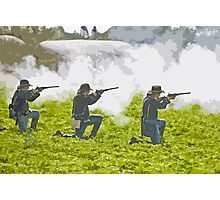 Stylized photo of three Civil War re-enactor soldiers on battlefield firing rifles. Photographic Print