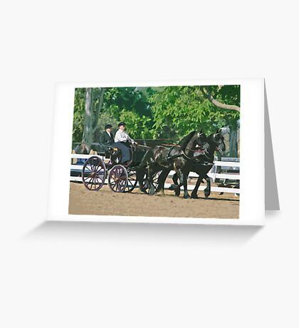 Stylized photo of a woman driving an Andalusian horse-drawn carriage in dressage competition at Del Mar Horsepark in Del Mar, CA US. Greeting Card