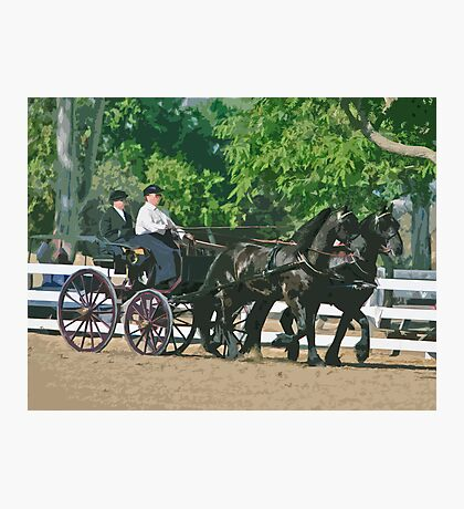 Stylized photo of a woman driving an Andalusian horse-drawn carriage in dressage competition at Del Mar Horsepark in Del Mar, CA US. Photographic Print