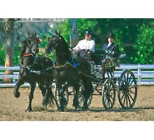 Impasto-stylized photo of a woman driving an Andalusian horse-drawn carriage in dressage competition at Del Mar Horsepark in Del Mar, CA US. Photographic Print