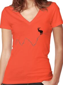 Ibex on mountain top  Women's Fitted V-Neck T-Shirt