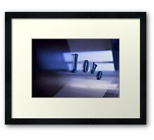 Love word abstract photograph romantic valentines day designs Framed Print