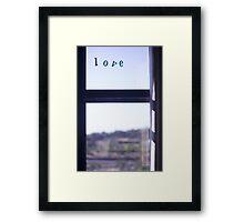 Love word on window photograph romantic valentines day Framed Print