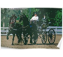 Impasto-stylized photo of a woman driving an Andalusian horse-drawn carriage in dressage competition at Del Mar Horsepark in Del Mar, CA US. Poster