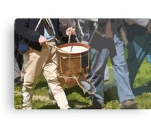 Stylized photo of Civil War re-enactors marching back to camp from the battlefield. Metal Print