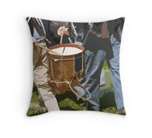 Stylized photo of Civil War re-enactors marching back to camp from the battlefield. Throw Pillow