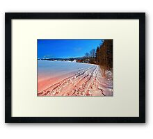 Hiking through a beautiful winter scenery | landscape photography Framed Print