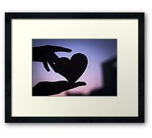 Love heart shape in hands photograph romantic valentines day design Framed Print