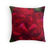Rose Covered in Water Drops Throw Pillow